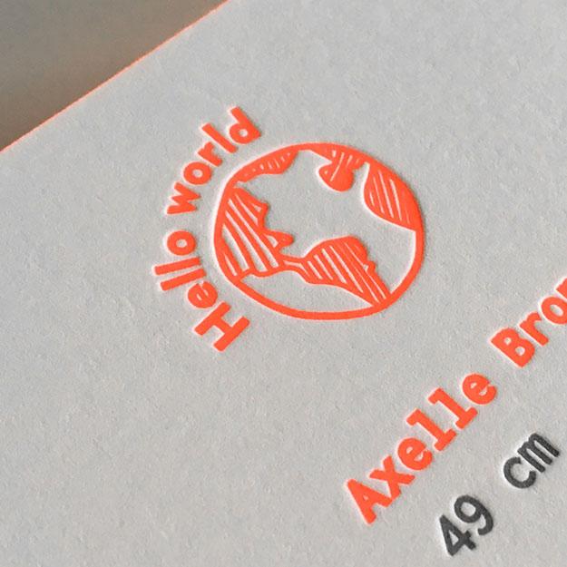 geboortekaartje meisje Oost-Vlaanderen gent letterpress blinddruk