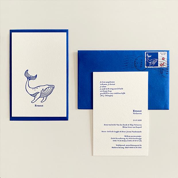 geboortekaartje jongen letterpress blauw oost vlaanderen gent