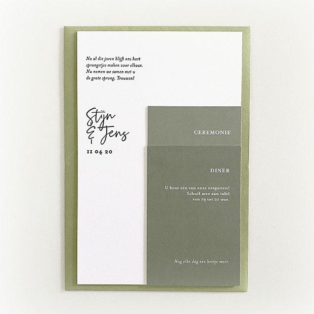 huwelijksuitnodiging groen letterpress