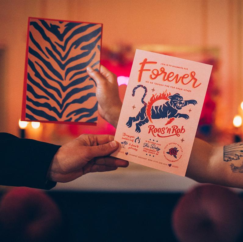 huwelijksuitnodigingen rock n roll stoer edgy trouwkaarten