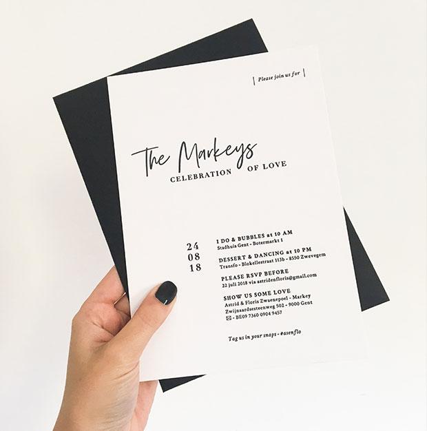 huwelijksuitnodiging letterpress