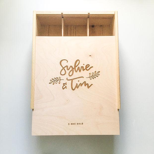 Houten gegraveerde doos hout gravure persoonlijk