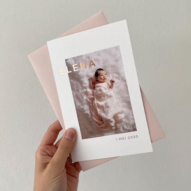 geboortekaartje meisje roséfolie koperfolie foto oost Vlaanderen gent Berlare Lokeren Dendermonde