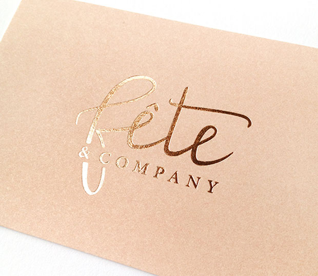 logo design business cards with letterpress and copper foil