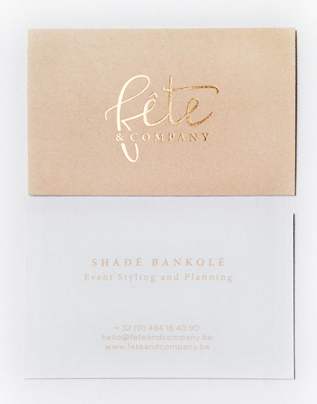 Logo design & business cards with letterpress and copper foil