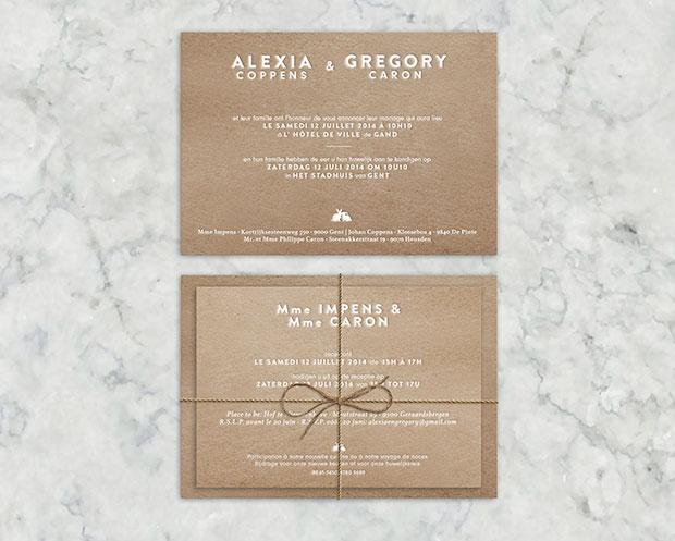 Huwelijksuitnodiging letterpress folie gent