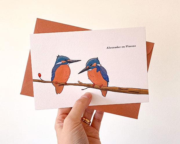 geboortekaartje tweeling vogeltjes ijsvogeltjes jongen