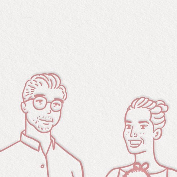 geboortekaartje meisje gezinsportret familieportret tekening illustratie op maat