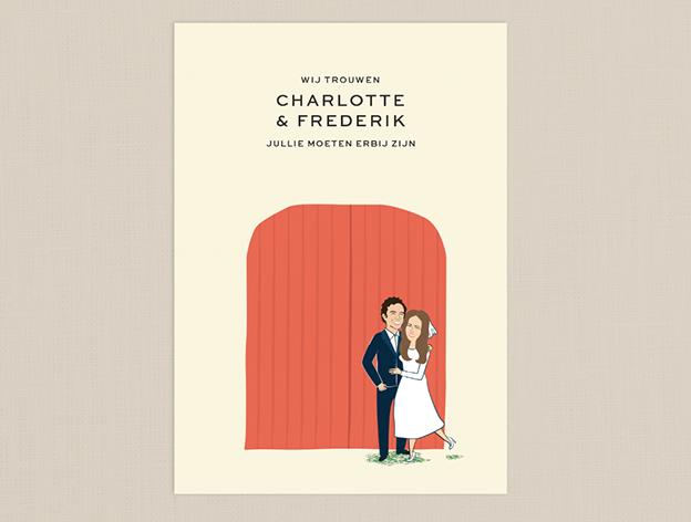 huwelijksuitnodiging illustratie
