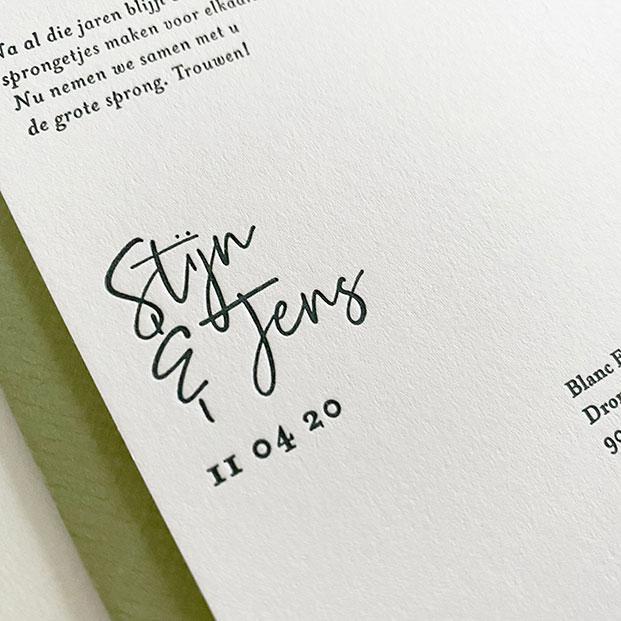 trouwkaart groen letterpress