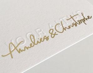 huwelijksuitnodigingen blinddruk goudfolie oost Vlaanderen