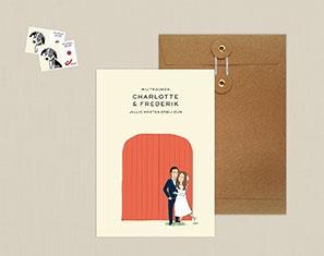 Huwelijksuitnodiging illustratie portret