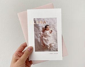 geboortekaartje meisje roséfolie foto
