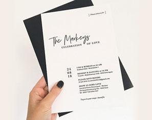 Zwart Wit Letterpress Huwelijksuitnodigingen