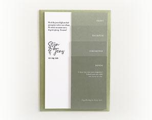 Uitnodigingen met groen thema en letterpress
